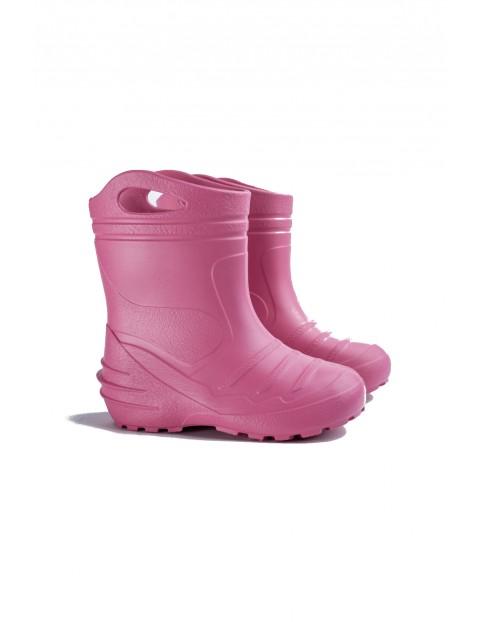 Kalosze dziewczęce ocieplane - różowe