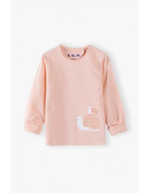 Bluzka niemowlęca różowa ze ślimakami - Rosnę z Tobą