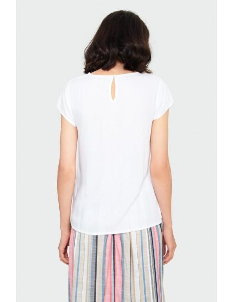 Biała wiskozowa bluzka z ozdobną wstawką przy dekolcie