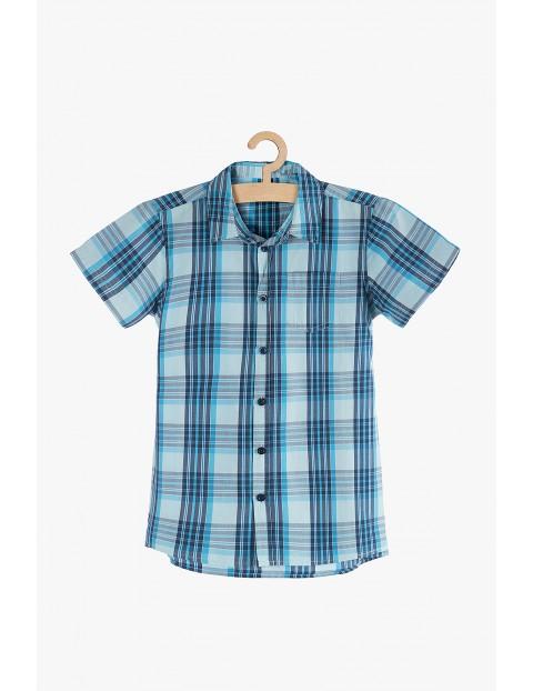 Koszula chłopięca rozpinana w niebieską kratę