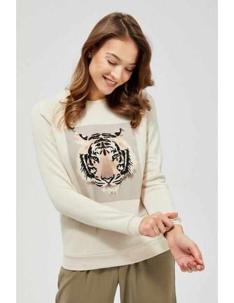 Bluza dresowa  damska z tygrysem - beżowy