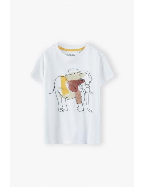 T-shirt chłopięcy w kolorze beżowym ze słoniem