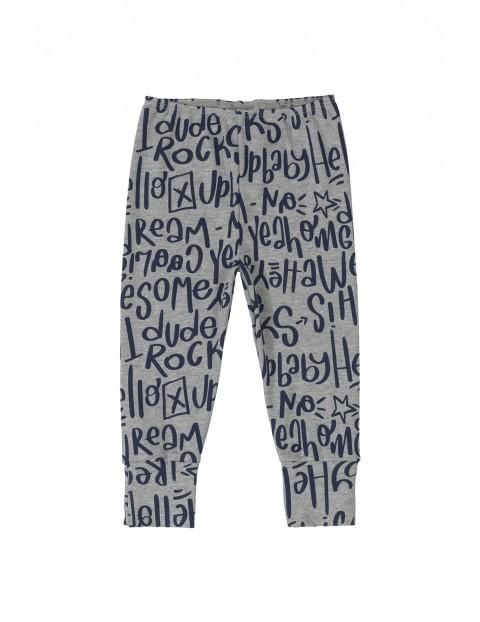 Spodnie niemowlęce z napisami - szare