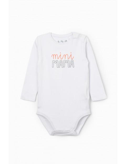 Body niemowlęce z długim rękawem i napisem Mini Mama