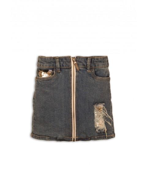 Spódnica jeansowa z suwakiem i cekinami