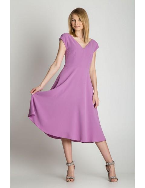 Fioletowa rozkloszowana sukienka damska