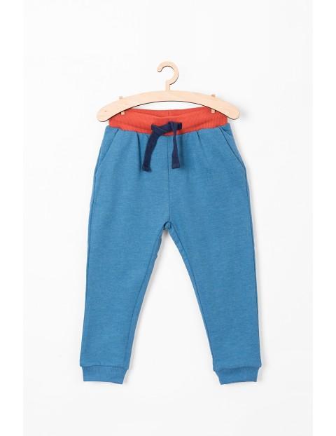 Spodnie z dzianiny dresowej- niebieskie