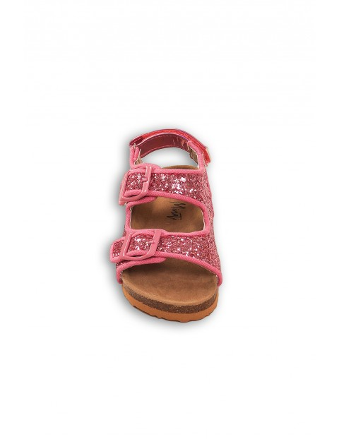 Sandały dla dziewczynki- różowe brokatowe