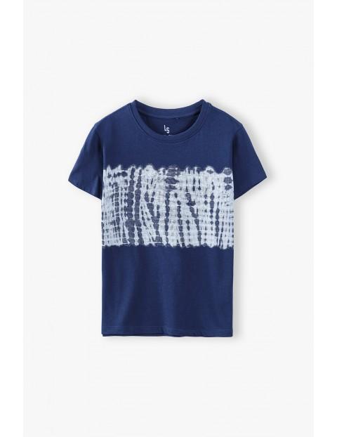 T-shirt chłopięcy z miękkiej dzianiny- granatowy