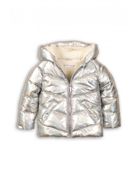 Kurtka dziewczęca zimowa - holograficzny srebrny materiał