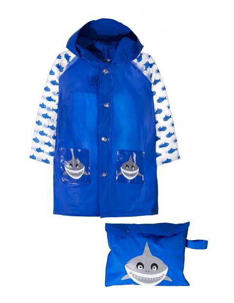 Płaszcz przeciwdeszczowy granatowy- rekiny