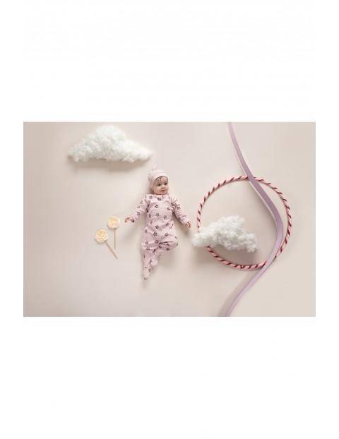 Czapka niemowlęca różowa bawełniana
