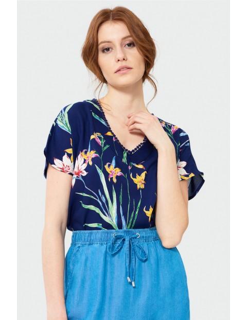 Granatowa bluzka kimono w kwiaty- krótki rękaw