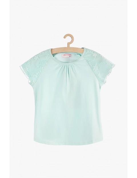 Bluzka dziewczęca niebieska z koronkowymi rękawami