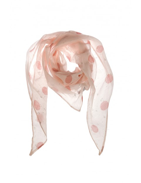 Apaszka dziewczęca w różowe kropki