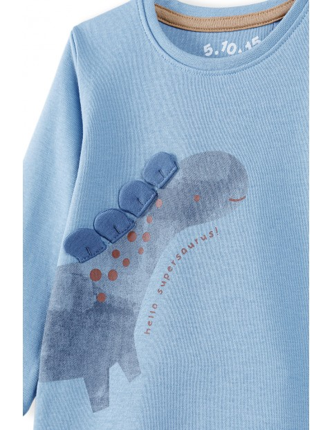 Body niemowlęce z dinozaurem - niebieskie