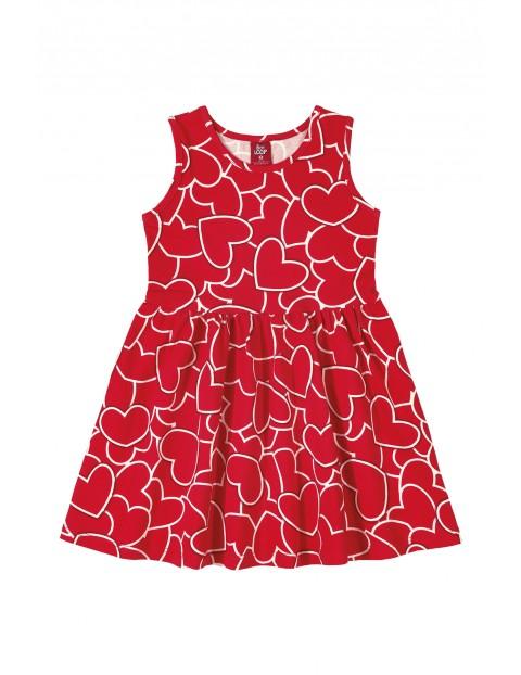 Sukienka dziewczęca w serduszka - czerwona
