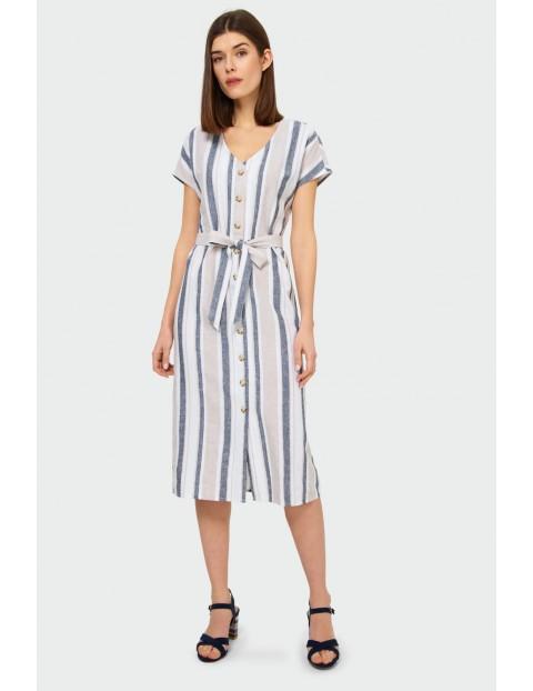 Sukienka damska zapinana na guzki z ozdobnym wiązaniem