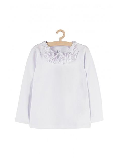 Bluzka dziewczęca biała z falbanką pod szyją