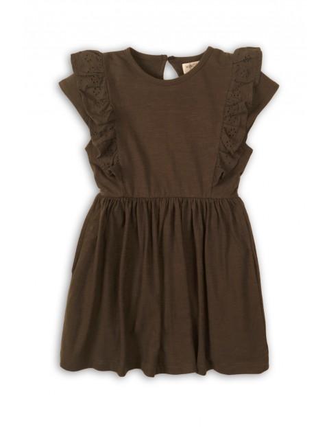 Sukienka dziewczęca brązowa z falbankami