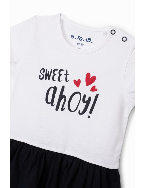 Sukienka niemowlęca z napisem Sweet Ahoy- biało - granatowa