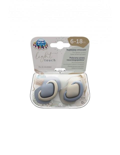 Canpol babies Smoczek silikonowy symetryczny PURE COLOR - 6-18m - 2 szt