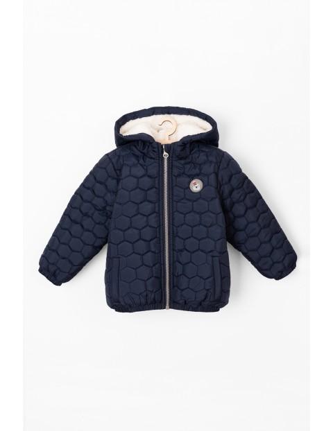 Granatowa pikowana kurtka dla niemowlaka- zimowa