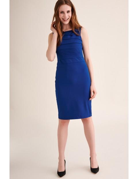 Elegancka sukienka bez rękawów - niebieska midi