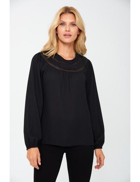 Bluzka damska z długim rękawem - czarna