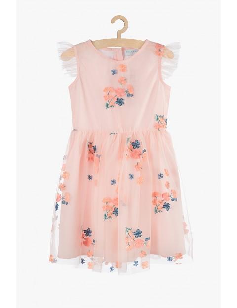 Sukienka dziewczęca różowa tiulowa- wyszywane kwiatki