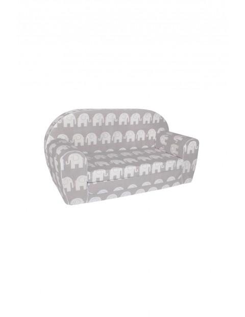 Szara sofa w białe słonie