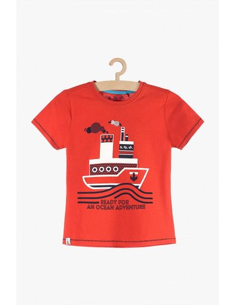 Koszulka chłopięca bawełniany- czerwony z parostatkiem