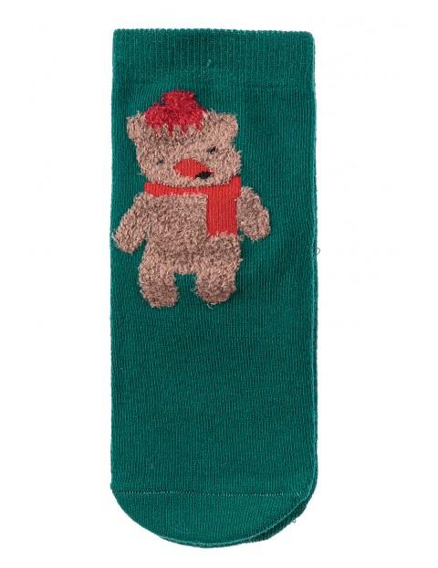 Skarpety świąteczne- zielone z misiem