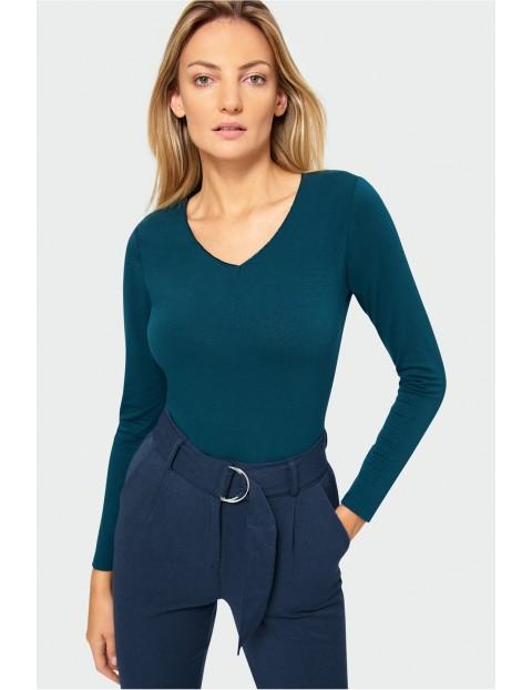 Bluzka damska z długim rękawe- turkusowa