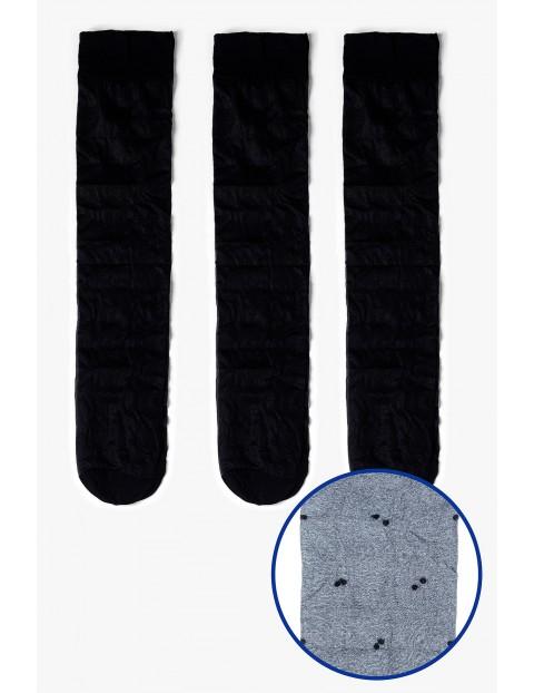 Podkolanówki damskie cienkie czarne w kropki 3-pack 20 DEN