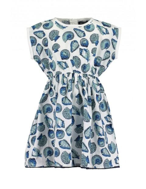 Sukienka dziewczęca na lato - niebieskie muszle