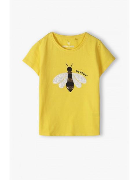 Bawełniany T- shirt dziewczęcy z cekinową pszczółą - żółty