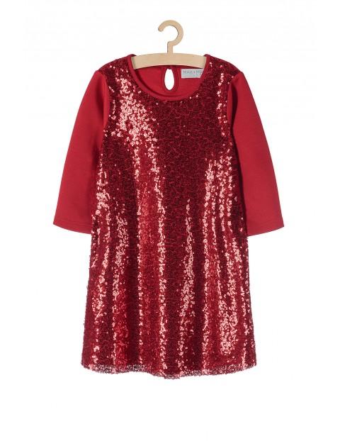 Sukienka świąteczna dla dziewczynki- czerwona z cekinami
