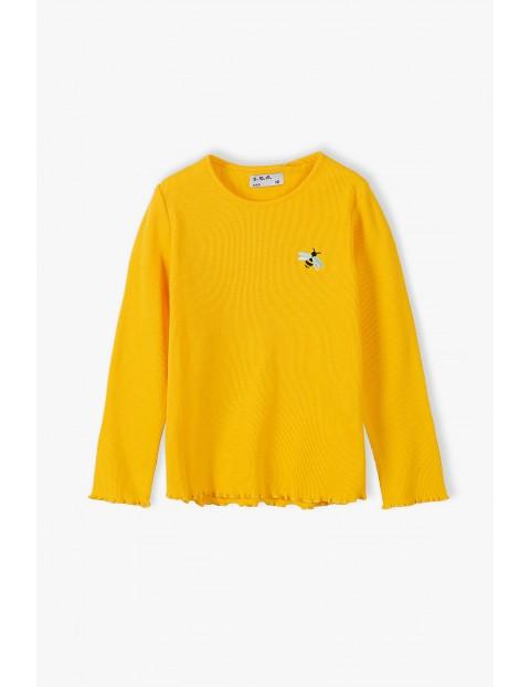 Bluzka dziewczęca prążkowana z długim rękawem - żółta