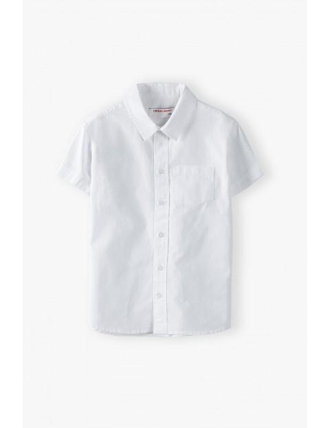 Koszula chłopięca biała z krótkim rękawem- biała