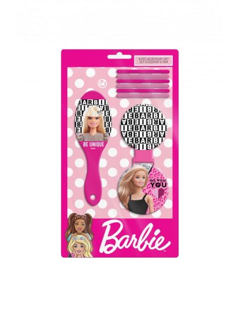 Zestaw do włosów 8 elementów BARBIE - gumki lusterko szczotka