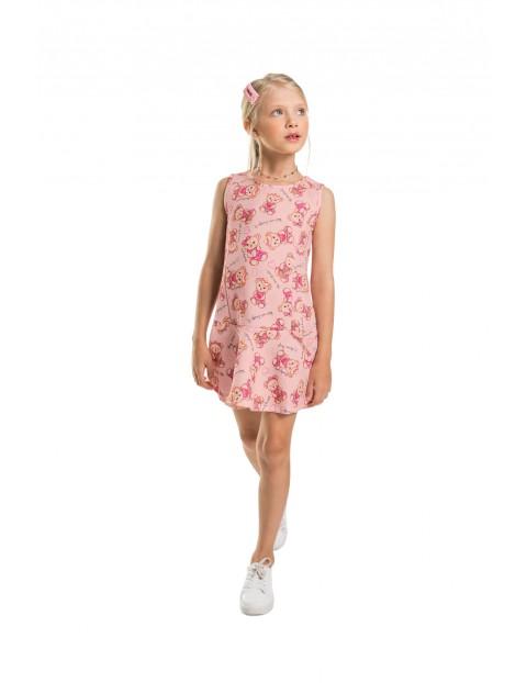 Różowa sukienka w misie - lekko rozkloszowany dół