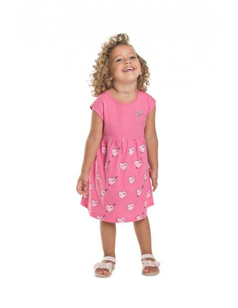 Sukienka dziecięca w serduszka - różowa