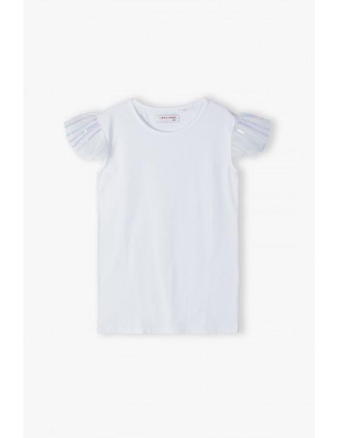 T- shirt dziewczęcy - biały z ozdobną tiulową falbanką