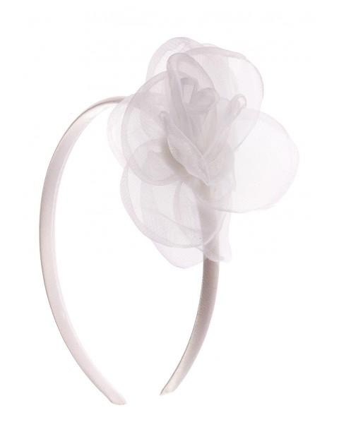 Opaska do włosów z białym tiulowym kwiatkiem