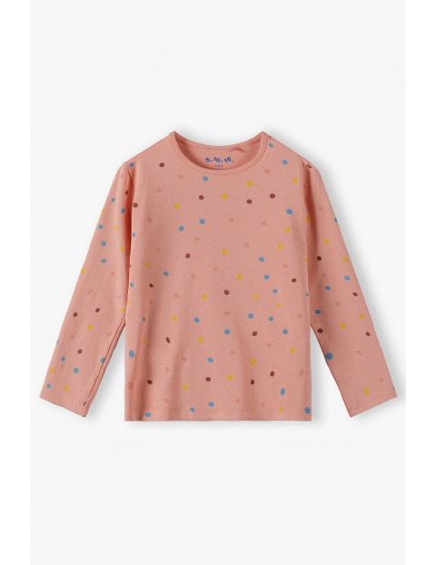 Bawełniana bluzka dziewczęca w kolorowe kropki