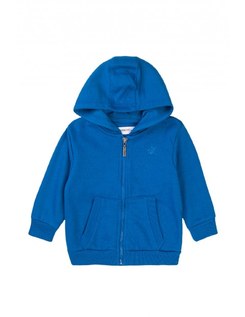 Bluza dresowa chłopięca z kapturem- niebieska