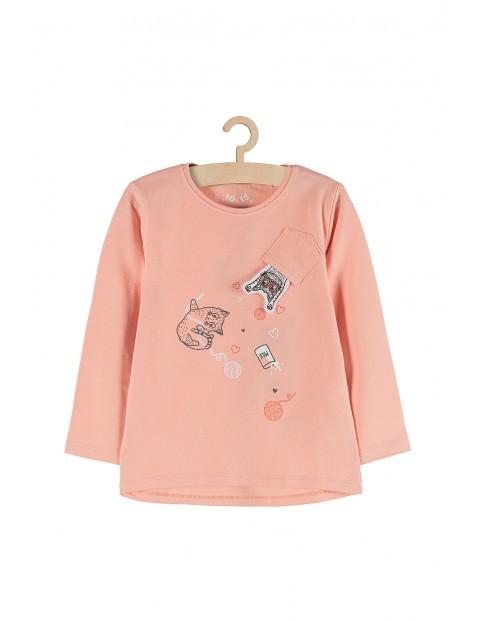 Bluzka dziewczęca różowa z kotami