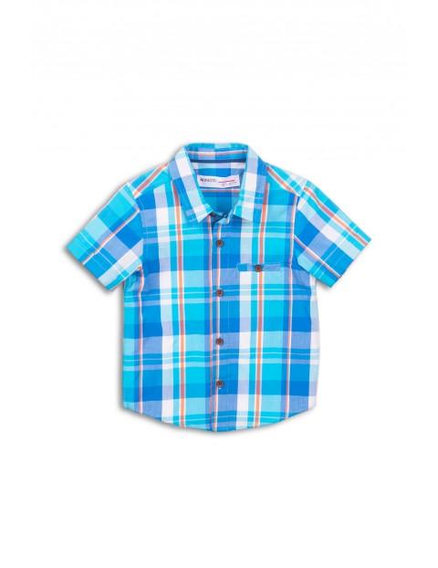 Bawełniana koszula chłopięca w kratkę - niebieska