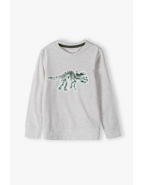 Bluzka chłopięca z długim rękawem w kolorze ecru z dinozaurem